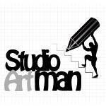 Logo firmy 123 - czarno białe - Studio Artman
