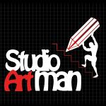 Logo firmy 123 - na ciemnym tle - Studio Artman